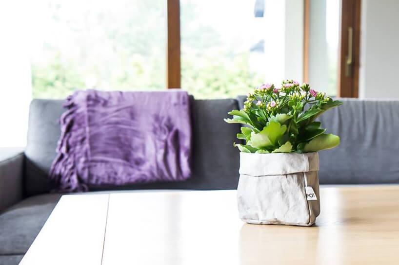 drewniany stół zkwiatami szara kanapa