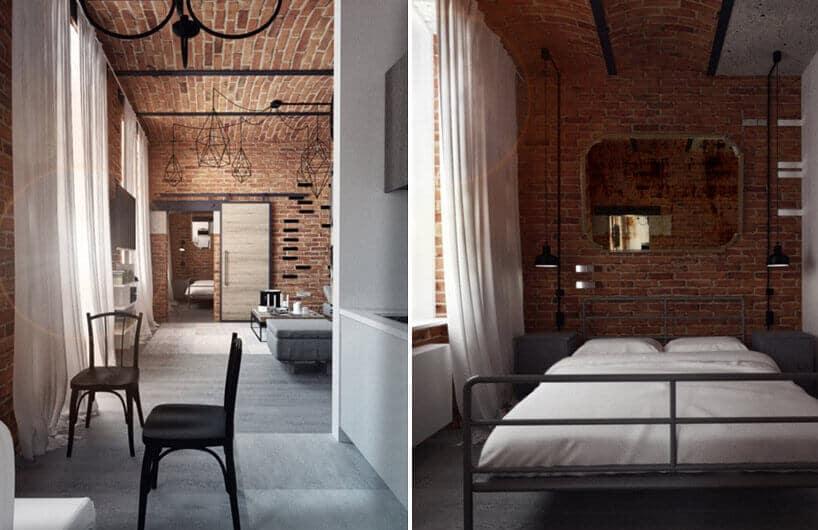 surowe wnętrze sypialni oraz holu wyłożone starą czerwoną cegłą oraz czarnymi elementami konstrukcyjnymi