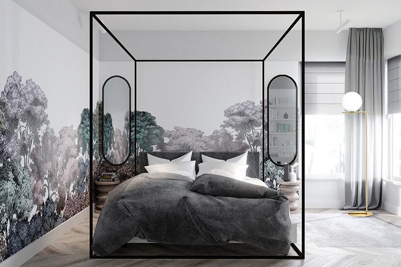 łóżko małżeńskie zamknięte wmetalowej kostce wkolorze czarnym wstylowym pomieszczeniu
