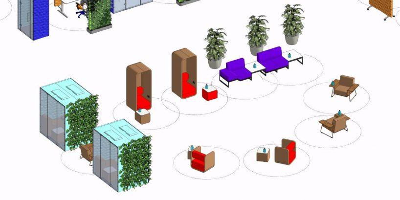 projekt strefy lounge wbiurze zmeblami biurowymi od VANK