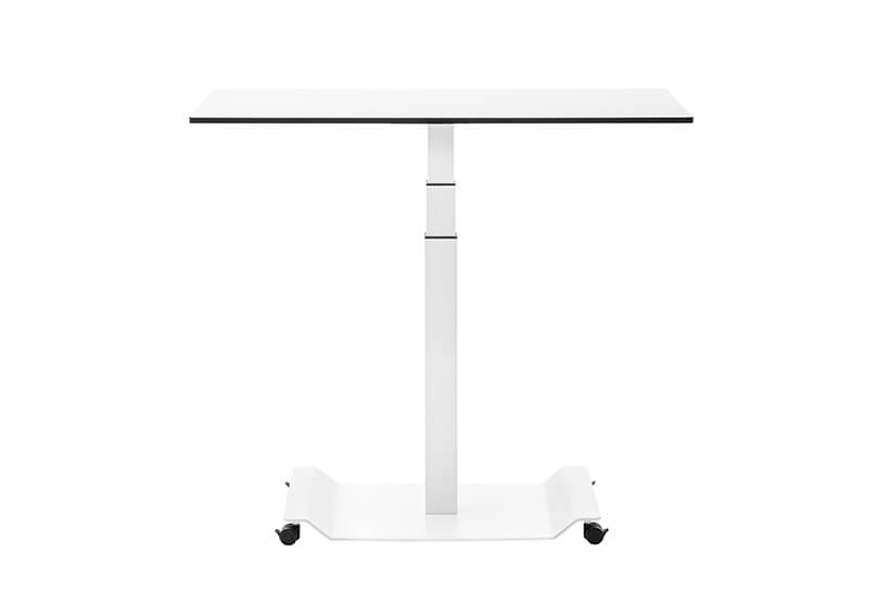 mobilne meble biurowe VANK_CO biały kwadratowy stół zna małych czarnych kółkach