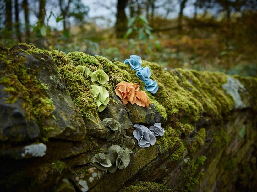 zdjęcie kamieni wmurze porośniętych mchem zwsadzonymi kawałkami zwiniętych kawałków tkaniny