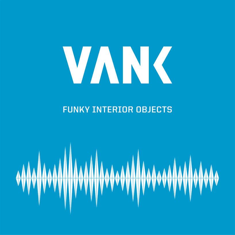 biało-niebieska grafika znapisem VANK FUNKY INTERIOR OBJECTS