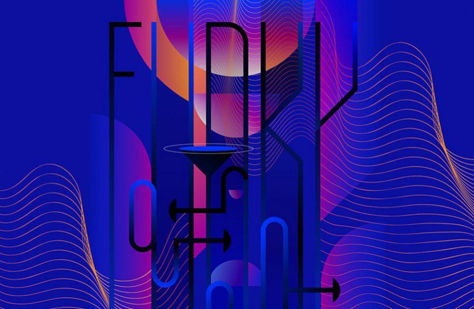 ciemna grafika z napisem FUNKY na tle kolorowych okręgów