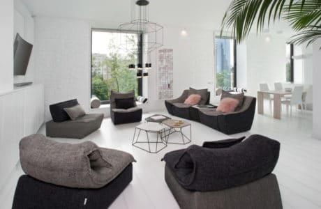 czysto białe wnętrze z czarnymi dodatkami w formie małych kanapa do siedzenia przy dużej palmie