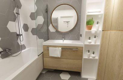 wizualizacja małej łazienki z wanną