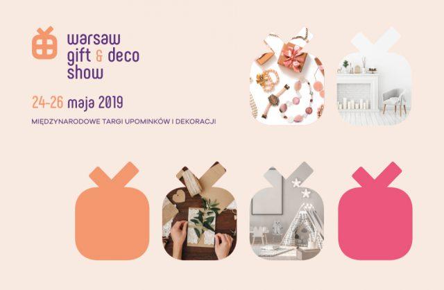 zapowiedź Warsaw Gift & Deco Show 2019 na beżowy tle