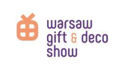 pomarańczowo fioletowy logotyp warsaw gist & deco show 2020