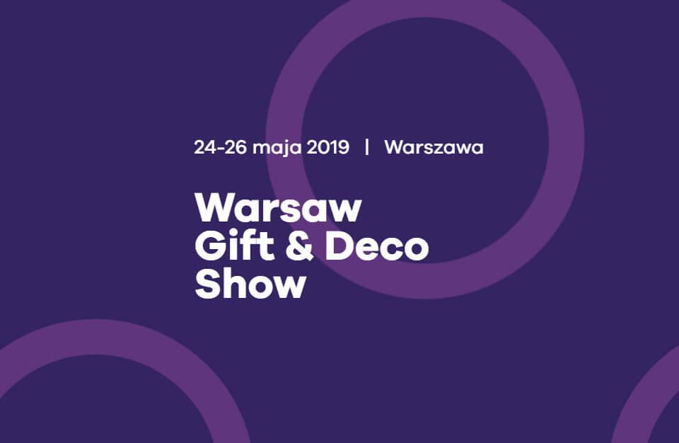 zaproszenie na Warsaw Gift & Deco Show 2019 na fioletowym tle