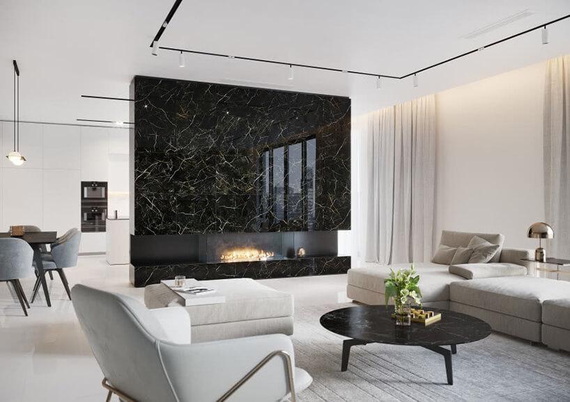elegancki salon ze ścianą zkominkiem zpłytkami ROYAL BLACK od Opoczno