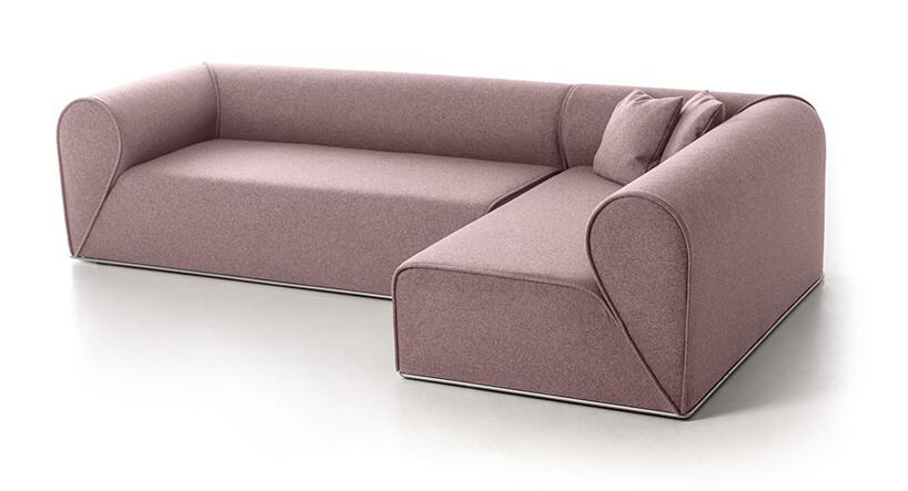duża różowa narożna Sofa Heartbreaker od Moroso
