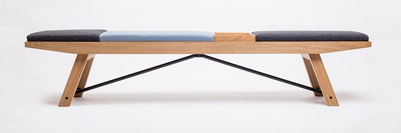 drewniana Ławka MESO od DOKI kolorowym siedziskiem