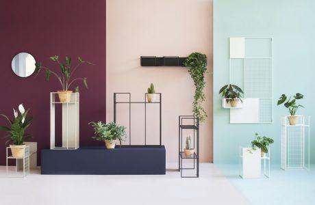 zestaw mebli Balma Floo od Fabryka Mebli BALMA na tle ściany w pastelowe kolory