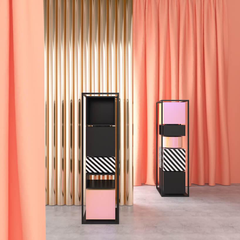 meble kolekcji Miami od Juko Studio na tle złotej iróżowej ściany