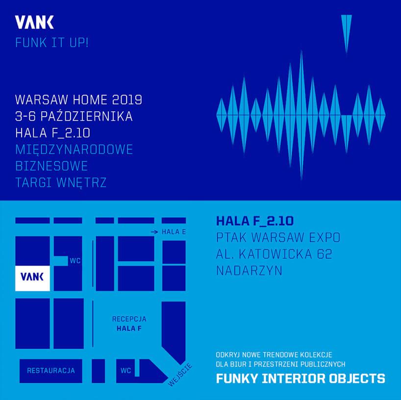niebieskie zaproszenie na stoisko VANK na Warsaw Home 2019