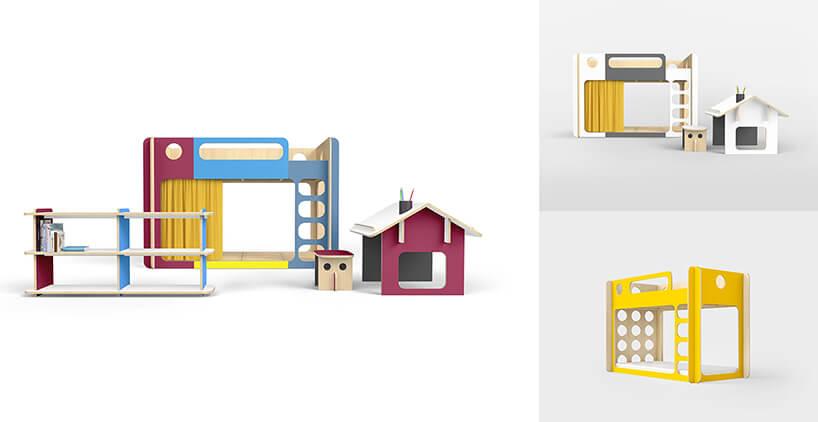 wyjątkowe kolorowe drewniane meble dla dzieci projekty Jakuba Korfantego dla Kandu