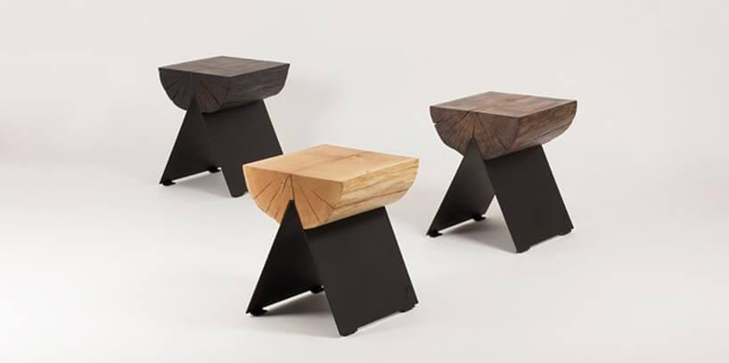 wyjątkowe stołki Stools od Witamina Dzmetalowymi nogami isiedziskiem zpołowy pnia drzewa