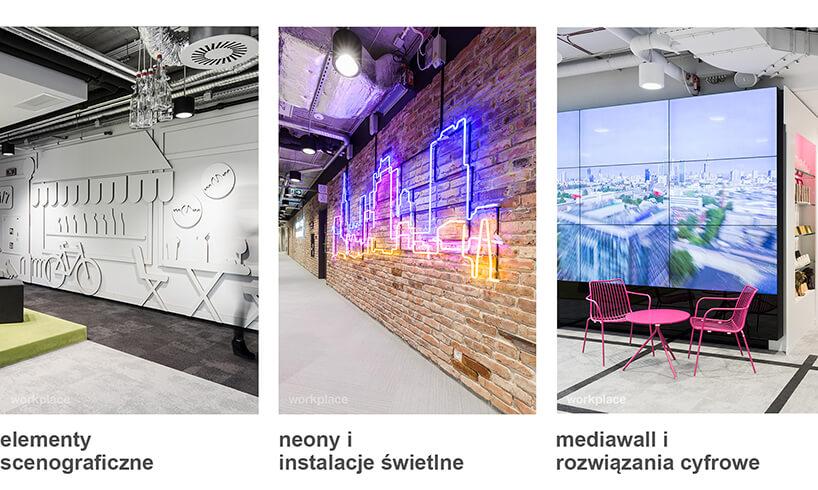 space branding elementy scenograficzne, neony iinstalacje świetlne, mediawall irozwiązania cyfrowe