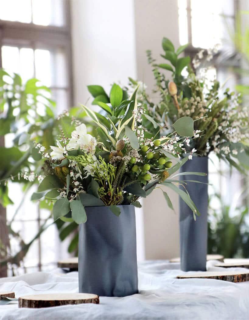 zielone rośliny wniebieskim nie foremnym wazonie na białym podłożu