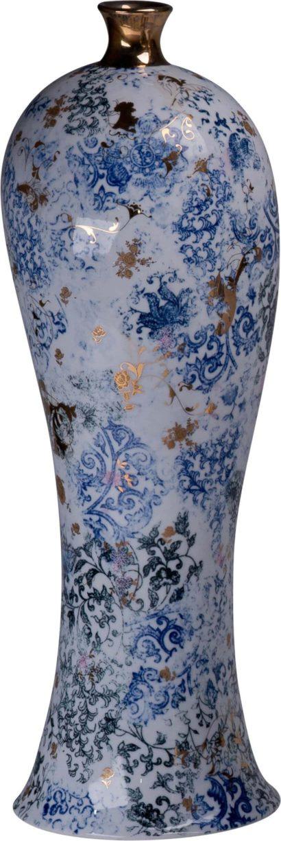 wazon ze wzorami marmurowymi wkolorze niebieskim onie typowym kształcie