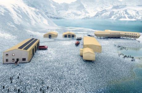stacja badawcza na Antarktydzie z żółtymi budynkami