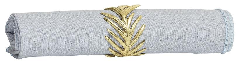 szara serwetka ze złotą opaską wkształcie gałązki