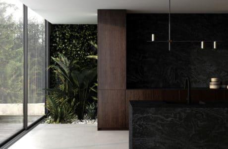 wnętrze nowoczesnego domu z białą podłogą oraz ciemno brązowymi meblami z czarnymi dodatkami