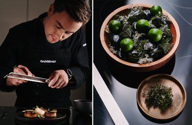 zdjęcie Witka Iwańskiego podczas przygotowywania dania obok dania stojącego w misce na czarnej płycie indukcyjnej Gaggenau