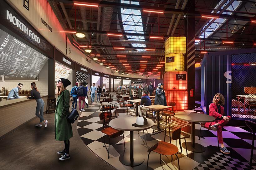 wizualizacja strefy gastronomicznej od MIXD małe okrągłe stoliki zbrązowymi krzesłami