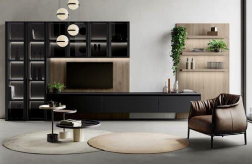 nowoczesny salon z szarościami i ciemną okleiną drewna