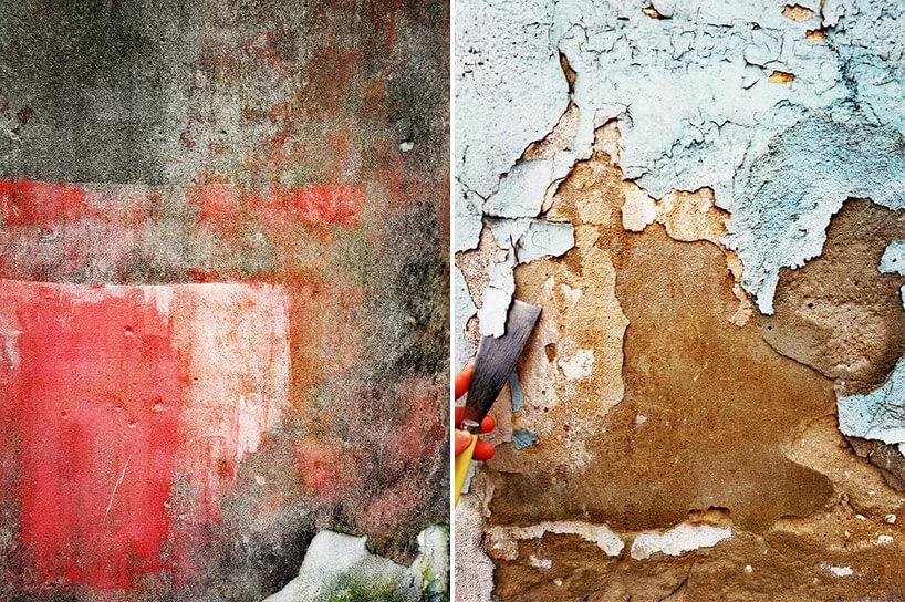 zestawienie dwóch obdrapanych ścian