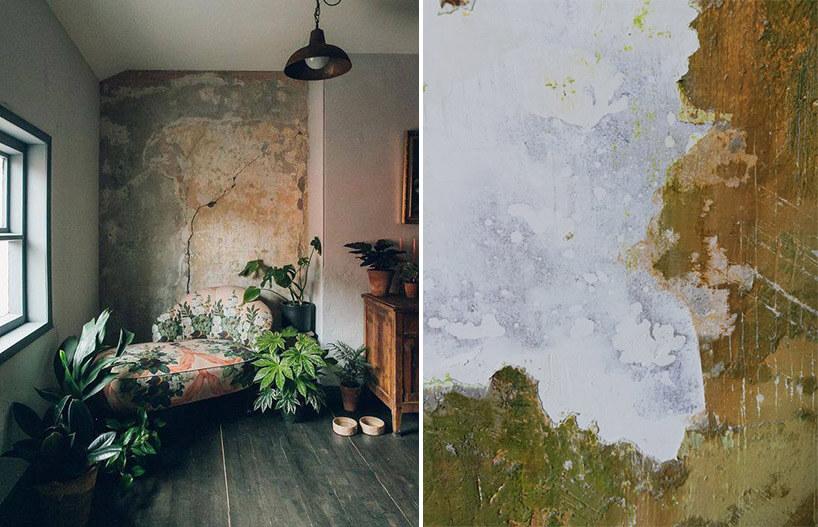 zestawienie obdrapanej ściany zaranżacja wnętrza