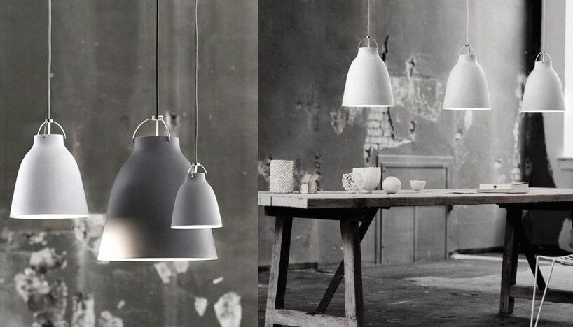trzy lampy wróżnych kolorach szarości