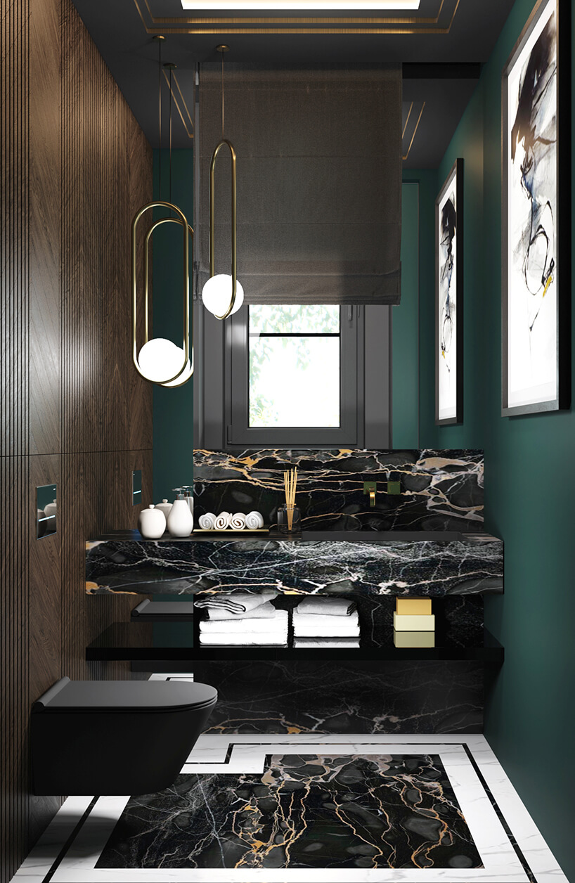 ciemna ubikacją zbiałym eleganckim kamieniem na podłodze ina blacie umywalki