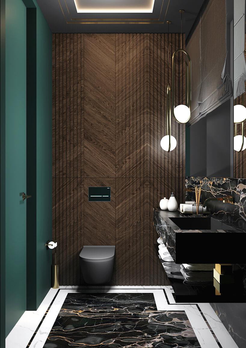 elegancka łazienka ze ścianą wykończoną ciemnym drewnem