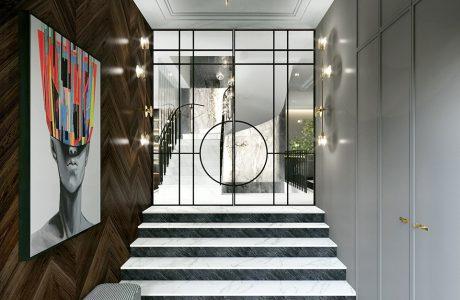 elegancki wejście z biało czarnymi schodami z białą zabudową po jednej stronie i drewnianym wykończeniem ściany
