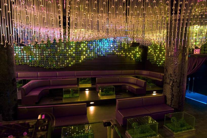 ciemne zielone wnętrze klubu