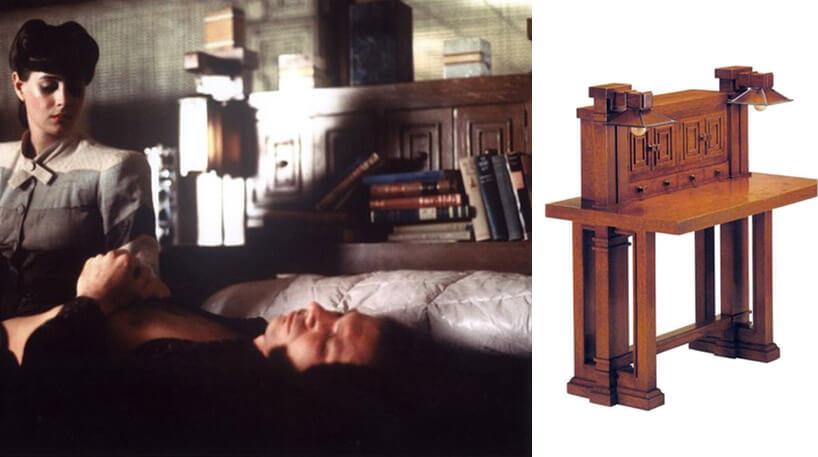 kobieta siedząca przy drewnianym biurku projektu Franka Lloyda Wrighta