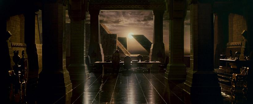 futurystyczne wnętrze zfuturystycznym widokiem