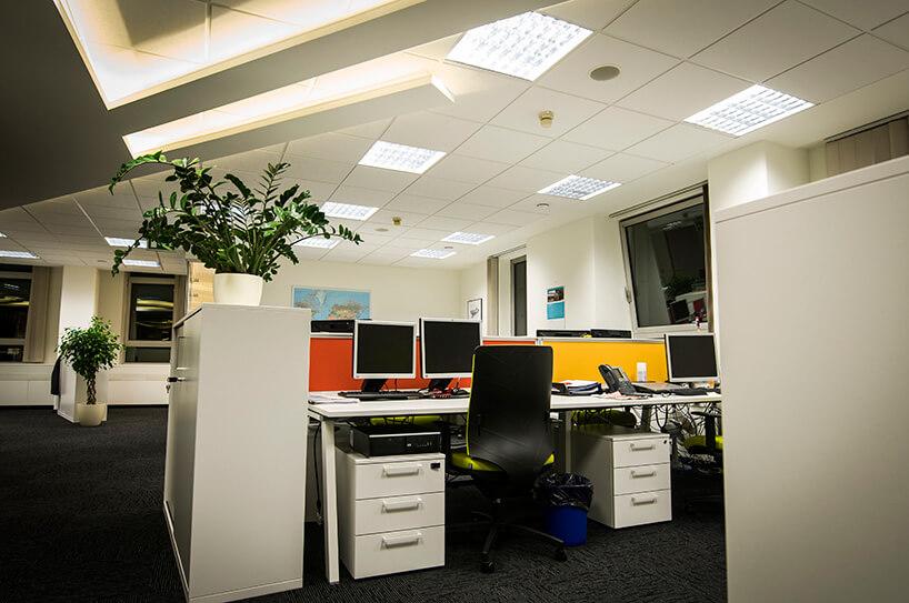biuro wbiałej kolorystyce zżywą zielenią