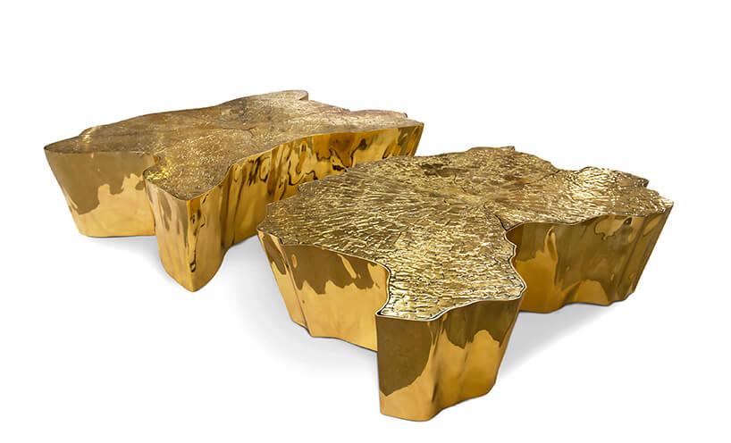 dwa ekskluzywne złote stoliki przypominający pień drzewa