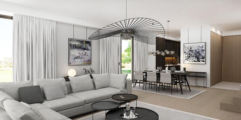 styl minimalistyczny wbiałym salonie zczarną lampą