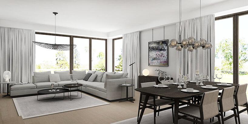styl minimalistyczny wbiałym salonie zszarą sofą