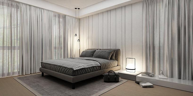 styl minimalistyczny wdużej sypialni zbrązowym łóżkiem iszarymi zasłonami