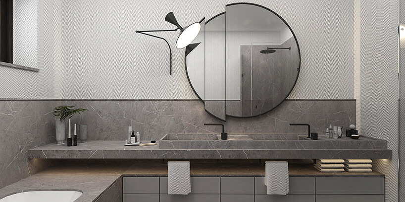 styl minimalistyczny wszarej łazience zszarą umywalką