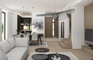 styl minimalistyczny w białym wnętrzu salonu połączonym z kuchnią