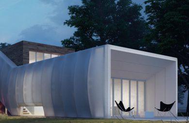biały Wormhouse Dom robak projektu Piotra Kuczia zdjęcie wieczorem