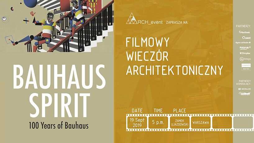 plakat na wieczór filmowy zfilmem Bauhaus Spirit