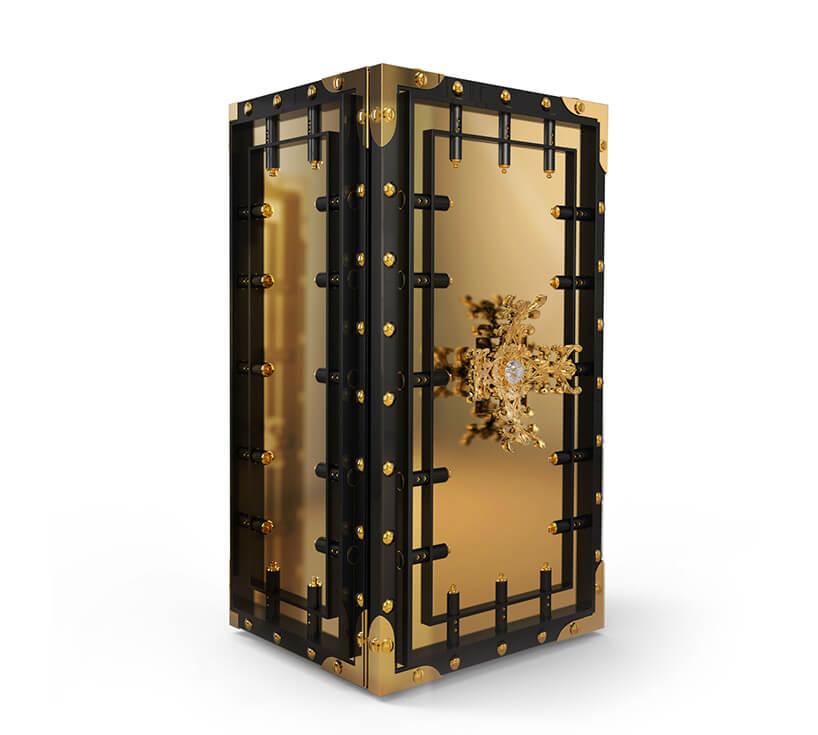 czarno-złoty masywny ekskluzywny skarbiec