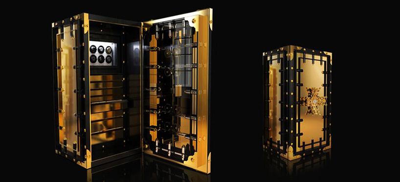 premium skarbiec wczarno-złotej kolorystyce zotwartymi drzwiczkami